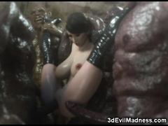 3d Huge-titted Chick Group-fucked By Mutants!