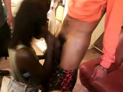 White on black extreme interracial tea party gagging blowjob