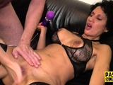 Tied up and blindfolded milf sub fingered