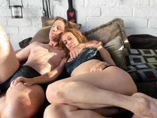 Big boobed blonde milf in sheer lingerie and heels fingering