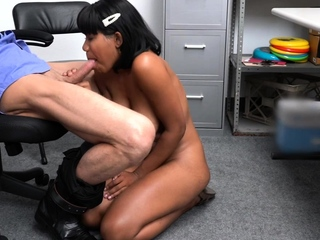 Ebony babe punished hard by the security officer
