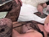 Hot MILF in sexy lingerie fucked in steamy threesome video