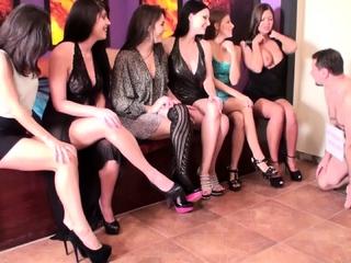 6 ladies humiliate slave joschi