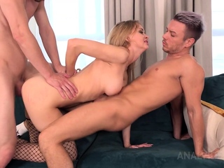 Hardcore foursome causes double anal penetration