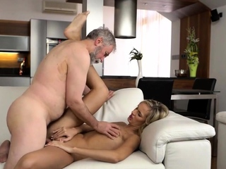 VIP4K. Brilliant blonde gets satisfied with old