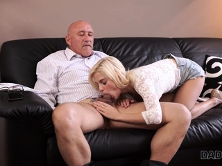 DADDY4K. Nice girl tastes old dick and gets tight