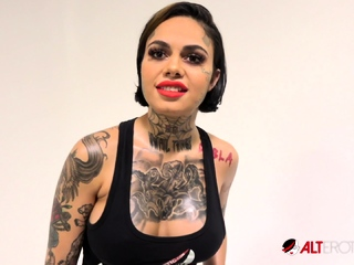 Interview with busty tattooed babe Genevieve Sinn