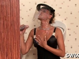Marvelous Regina is fucked by a sex tool