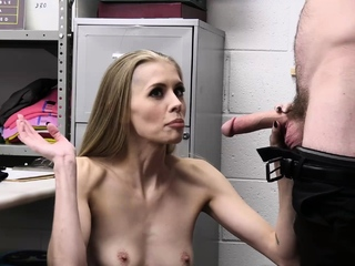 Anorexic milf with an emaciated body fucked by officer!