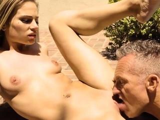 DADDY4K. Skinny nymph copulates with BFs father