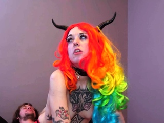 Tattooed cosplay slut enjoys sucking and fucking a hard cock
