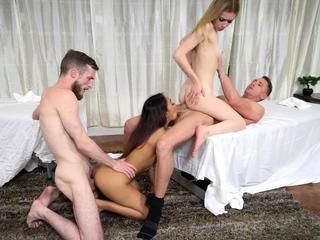 Stepdaughters giving daddies massage