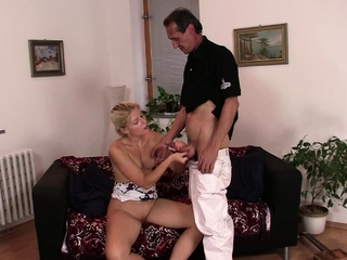 Old father in law seduces blonde girl into sex