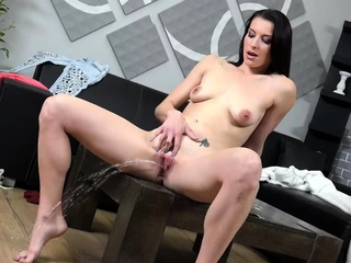 Czech Babe Fills Her Pissy Pussy With A Big Dildo