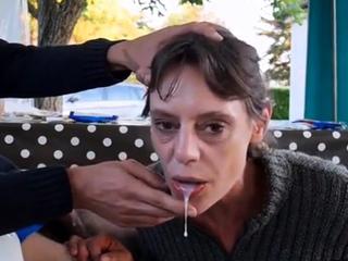 Amateur Brunette Milf Gives A Special Blowjob On The Porch