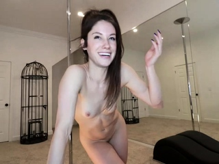 Small tit brunette amateur tugs on a big willie