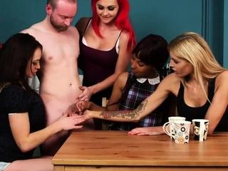 CFNM babes practicing handjob on lucky dick