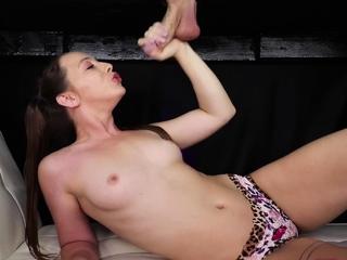 Kinky masseuse jerking dick from underneath