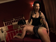 Student in heels gets pussy toyed by mistress