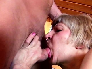 73yr old Grandma with extreme Hairy Pussy Fuck by Young Boy