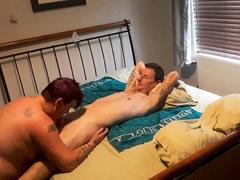 Bitch sucks cock then licks ass hole